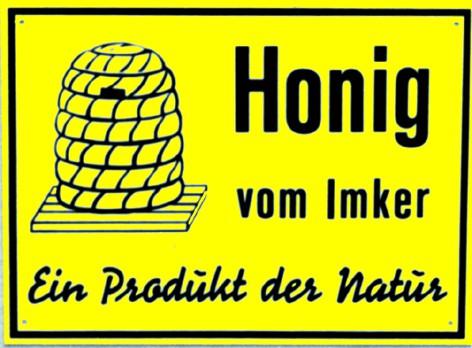 """Außenwerbeschild """"Honig vom Imker, Produkt der Natur"""" 20 x 15 cm"""
