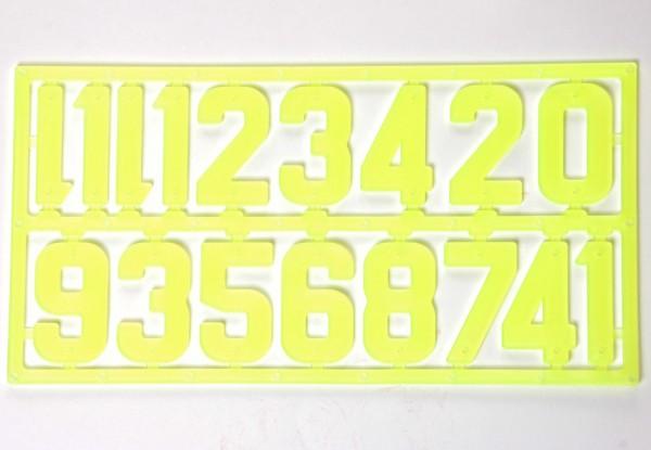 Ziffernsortiment, Kunststoff neon-gelb