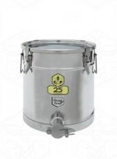 Abfüllbehälter Edelstahl 25 kg mit Spannverschluß-Deckel