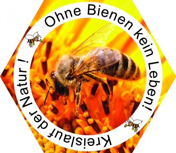 """Autoaufkleber """"Ohne Bienen kein Leben"""" Ø 12 cm"""