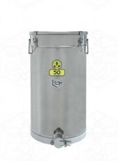 Abfüllbehälter Edelstahl 50 kg mit Spannverschluß-Deckel