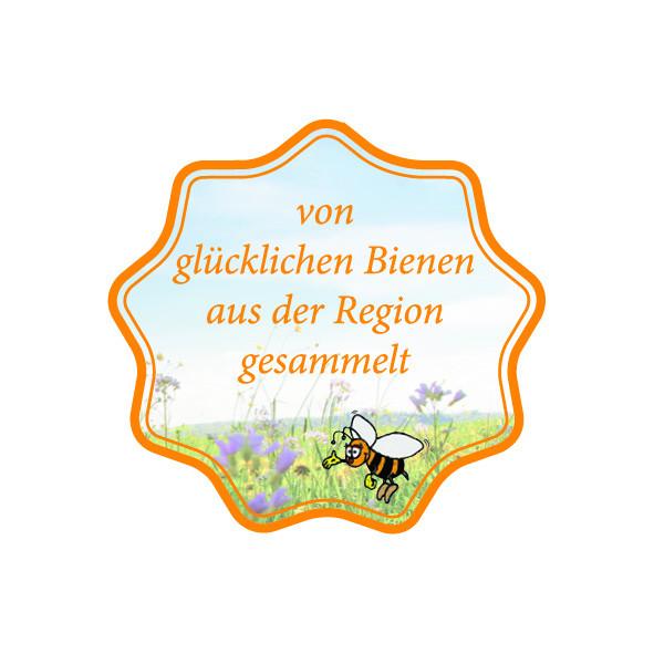 """Etiketten """"von glücklichen Bienen aus der Region gesamelt"""""""